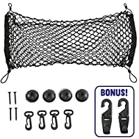 AutoWren Premium Quality Cargo Trunk Net for SUVs & Cars Plus Mounting Kit, Installation Instructions and BONUS Rear Car Headrest Cargo Hooks for Grocery Bags, Handbags, Purses