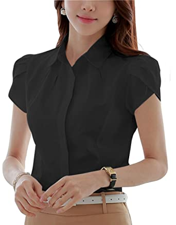 DPO Women's Cotton Collared Pleated Button Down Shirt Short Sleeve ...