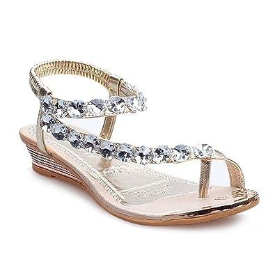 7eb1dabbfd7cac Donalworld Women Summer Beach Shoes T Strap Rhinestone Sandals Flip Flops  Wedges Gladiator Platform Sandals  Amazon.co.uk  Shoes   Bags