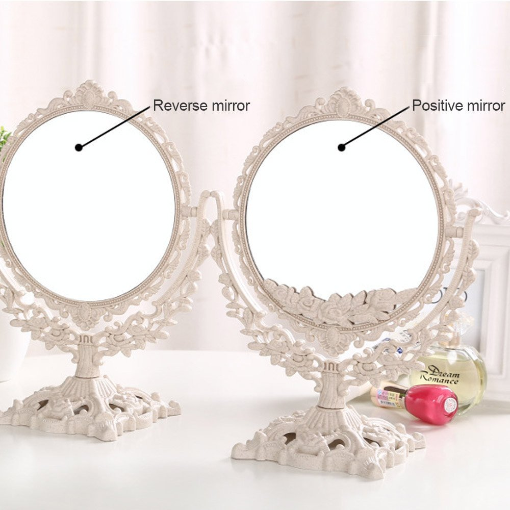 GF Wood Women Makeup Mirror Vintage Floral Oval Round Handhold Mirror Princess Elegant Makeup Beauty Tools,White,Oval by GF Wood (Image #5)