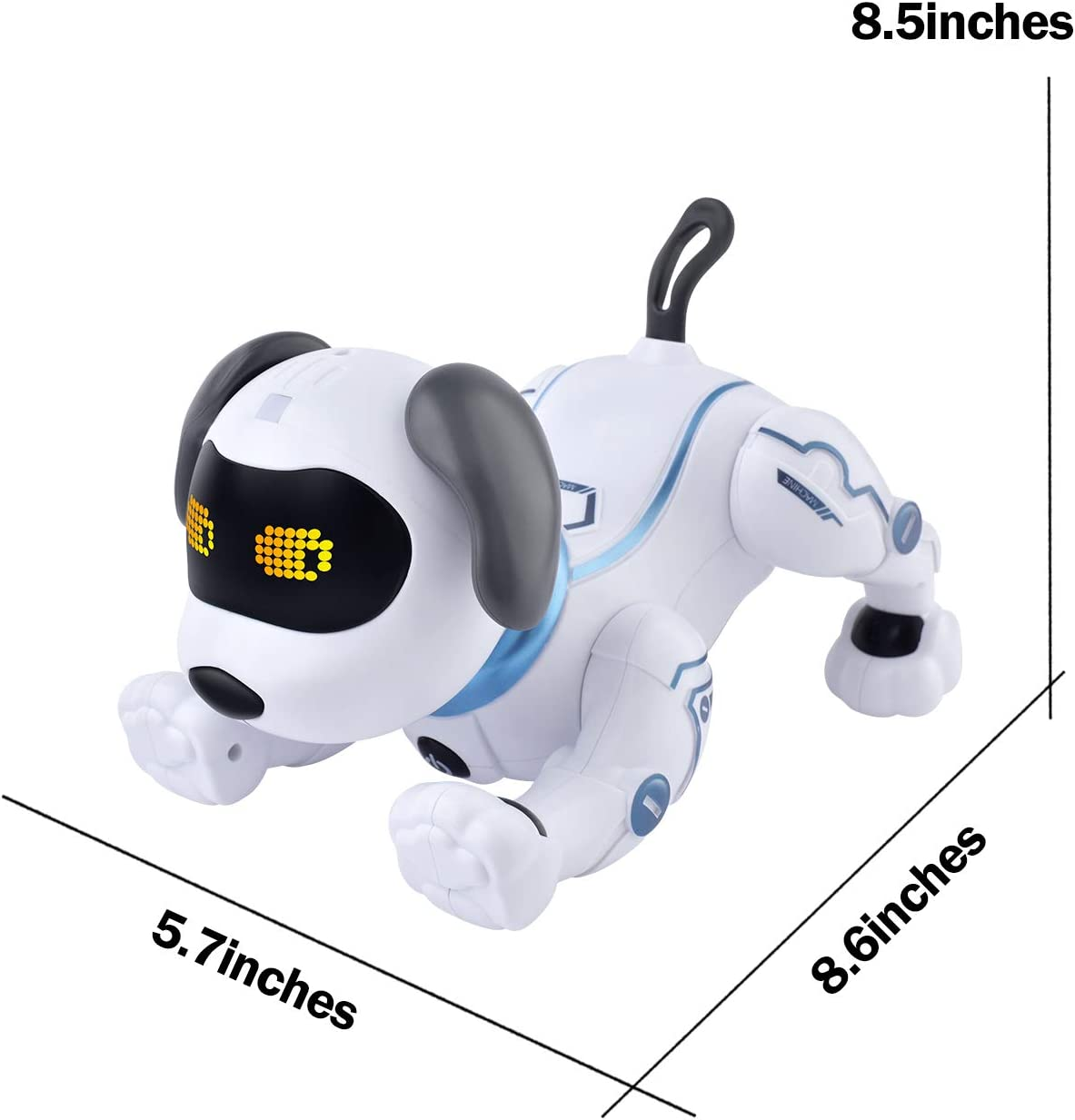 IDEAPARK Chien t/él/écommand/é Jouets de Commande vocale de Chiot acrobatique robotique RC Robot programmable et Dansant RC avec Son interactif.Cadeau pour gar/çons et Filles de 3 /à 12 Ans.