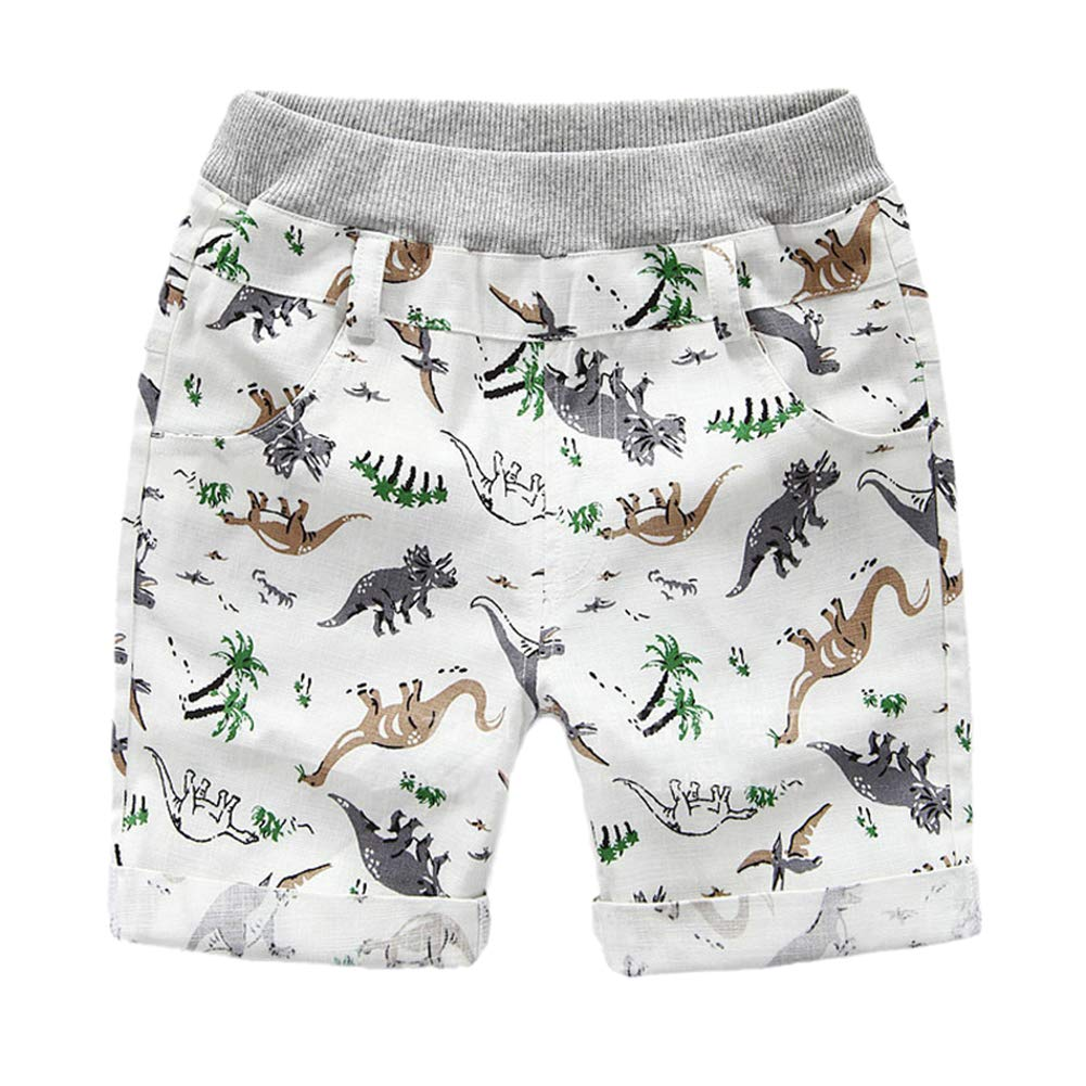 Bfsports Toddler Boys Summer Cartoon Dinosaur Pull-on Shorts Little Baby Kids Casual Pants Clothes