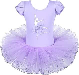 BAOHULU Girls Leotards Ballet Dance Skirted Tutu Dress Short Sleeve Jewels Dancewear