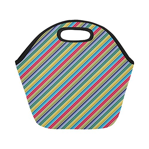 Insulated Neoprene Lunch Bag Scrapbook Scrapbooking Stripes Diagonal Paper Large Size Reusable Thermal Thick Lunch Tote Bags For -lunch Boxes For Outdoors,work, Office, School - Green Stripes 12x12 Scrapbook Paper