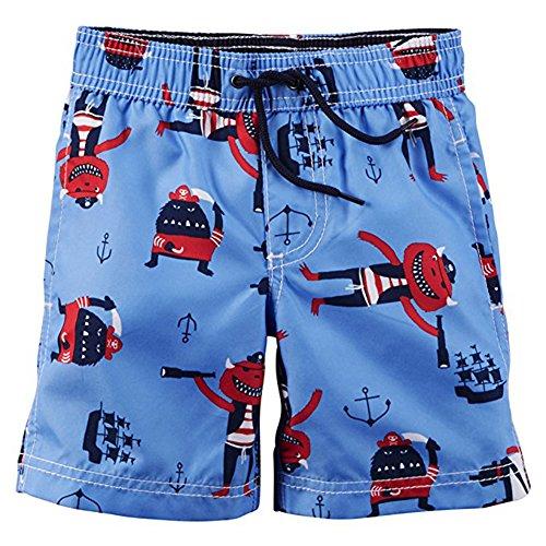 Carter's Little Boys Toddler Printed Swim Short, Blue 2T ()