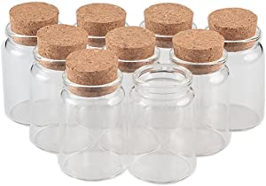 TAI DIAN 80ml Glass Bottles with Cork Small Transparent Mini Empty Glass Vials Jars Container Clear Food Botlles Eco-Friendly 6pcs (6, 80ml-47x70x33mm)