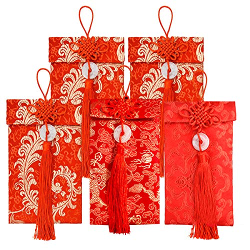 Red Envelopes Traditional Chinese Wedding,5 Pcs Chinese Element Silk Red Envelopes, Chinese Lucky Embroidery Red Envelopes for Wedding(3 Styles)