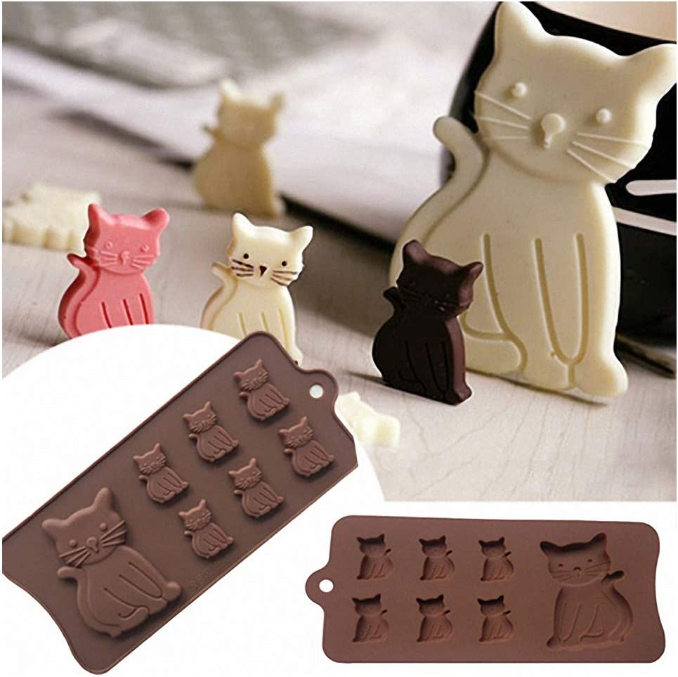 Amazon Com 2 Pack Cat Chocolate Molds Moldfun Cartoon Kitten Silicone Molds For Candy Jello Ice Cubes Mini Soap Muffin Cookie Baking Tool Kitchen Dining