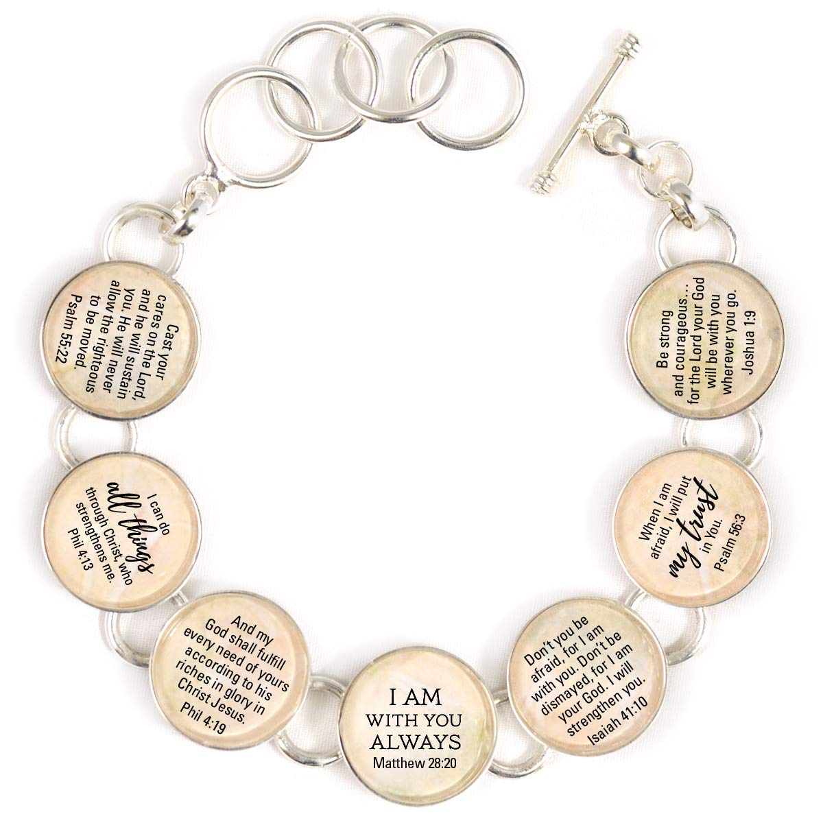 Encouragement Scriptures Silver-Plated Glass Charm Bracelet