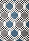 Rio B1-Y37P-ICVA Summit 313 Grey Blue White Area Rug Modern Geometric Many Sizes Available  (2′ x 7), 2′ x 7′ hall way runner For Sale