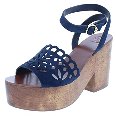 ab8e8e49f Color  Tory Burch Womens May Suede Block Heel Platform Sandals Navy 5.5  Medium (B