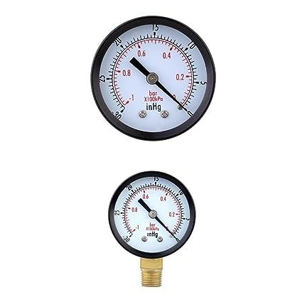 MagiDeal Marque Manómetro de Vacío Indicador de Presión Para Compresor de Aire Gas de Aceite de