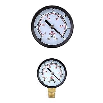 MagiDeal Marque Manómetro de Vacío Indicador de Presión Para Compresor de Aire Gas de Aceite de Agua 0-1bar: Amazon.es: Bricolaje y herramientas