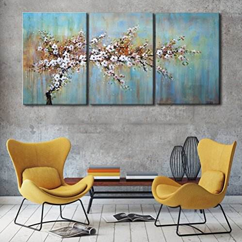 Modern Framed Floral Giclee Canvas Blooming Life Prints Famous Oil Paintings Reproduction Flowers Pictures on Canvas Blue Background Wall Art Ready to Hang for Bedroom Home Decorations(60''Wx28''H) ()