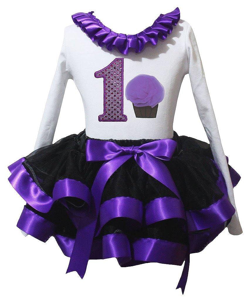 Petitebella Birthday 1st Cupcake White L//s Shirt Purple Black Petal Skirt Nb-8y
