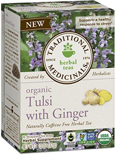 Tea Tulsi Original (Traditional Medicinals Organic Tulsi with Ginger Herbal Leaf Tea, 16 Tea Bags (Pack of 6))