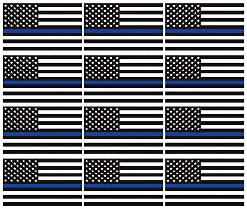 "12 qty of 3""x5"" Thin Blue Line USA Flag Decal American Flag"