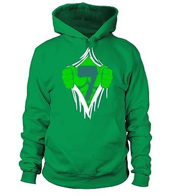 Green Man Chest Superhero Birthday Shirt For 7 Year Old Boys Unisex Hoodie