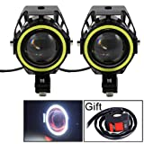 Motorcycle Headlight Cree U7 LED Fog Lights Spotlight Daytime Running Lights with White Angel Eyes Halo Ring and Switch 125W 2-sets (Color: U7 White Halo Light)
