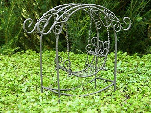 ShopForAllYou Figurines and Statues Miniature Dollhouse Fairy Garden Furniture ~ Rustic Iron Arch with Swing ~ New (Garden Furniture Arch Rustic)