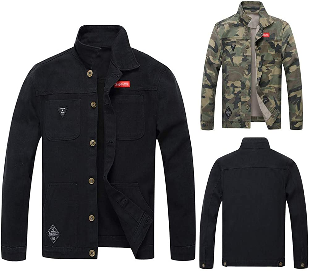 AKIMPE Mens Autumn Winter Casual Long Sleeve Turn-Down Collar Camouflage Denim Jacket