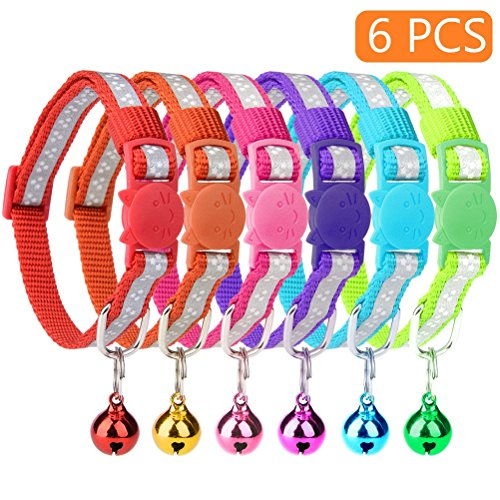 KOOLTAIL 6 Pcs Reflective Cat Collars with Bell 8