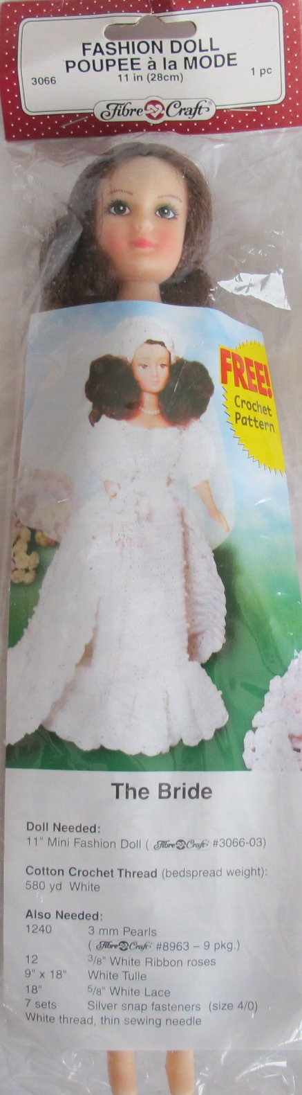 Fibre Craft FASHION DOLL 11'' Tall w Combable BROWN HAIR, Panties, Pair of Shoes & 'The BRIDE' CROCHET PATTERN