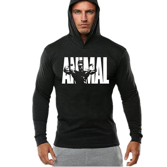 c5d7dc82fd4c YeeHoo Men's Workout Fitness Hooded Animal Tank Tops Bodybuilding Muscle T  Shirt Long Sleeve Gym Hoodies