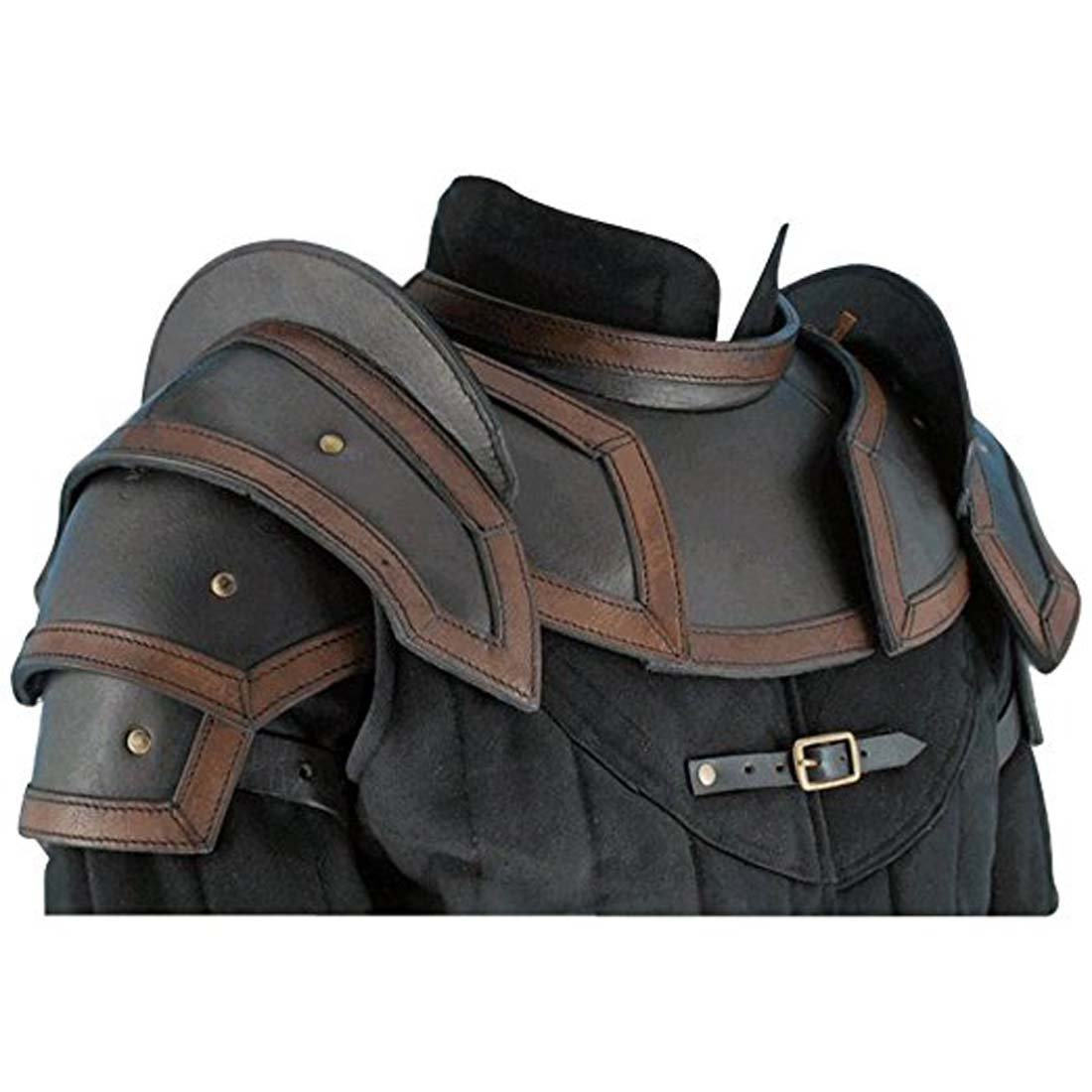 ANTIQUECOLLECTION Leather Shoulder Armour with Neck Guard