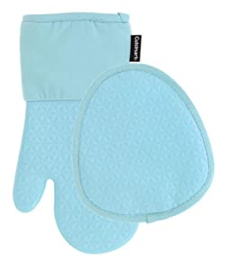 Cuisinart Silicone Kitchen Oven Mitts/Gloves & Potholder Set - Heat Resistant up to 500 F, Handle Hot Oven/Cooking Items Safely - Non-Slip Grip and Hanging Loop– Trillion- Pastel Turquoise, 2pk