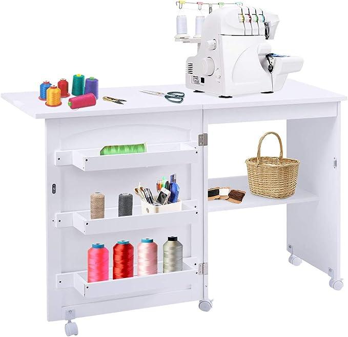 Giantex - Mesa de costura con estantes de almacenamiento y ruedas con cerradura para muebles de hogar, armario de costura plegable, color blanco: Amazon.es: Juguetes y juegos