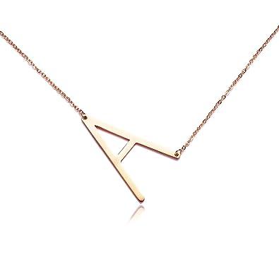 RINHOO Big Large Initial Necklace Stainless Steel Rose Gold Letter Chain  Script Name Pendant for Girl Women s Gift … 619614e2c