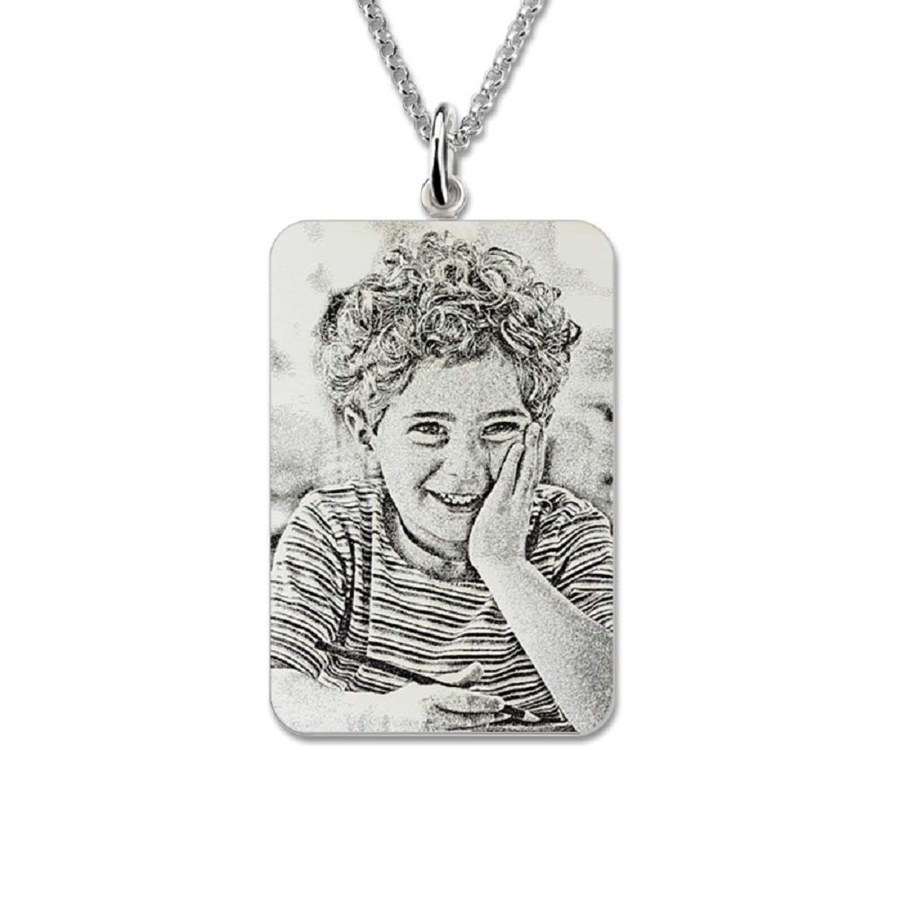 Nieedin 925 Sterling Silver Custom Photo Text Clavicle Necklace Creative Practical DIY Valentines Day Gift to Send Boyfriend Girlfriend Couple Pendant Square