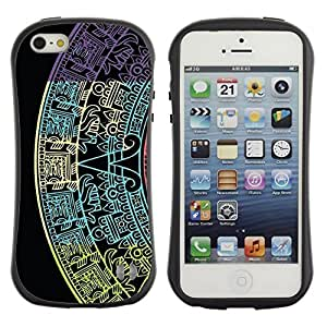 Fuerte Suave TPU GEL Caso Carcasa de Protección Funda para Apple Iphone 5 / 5S / Business Style Star Calendar History Ancient Black