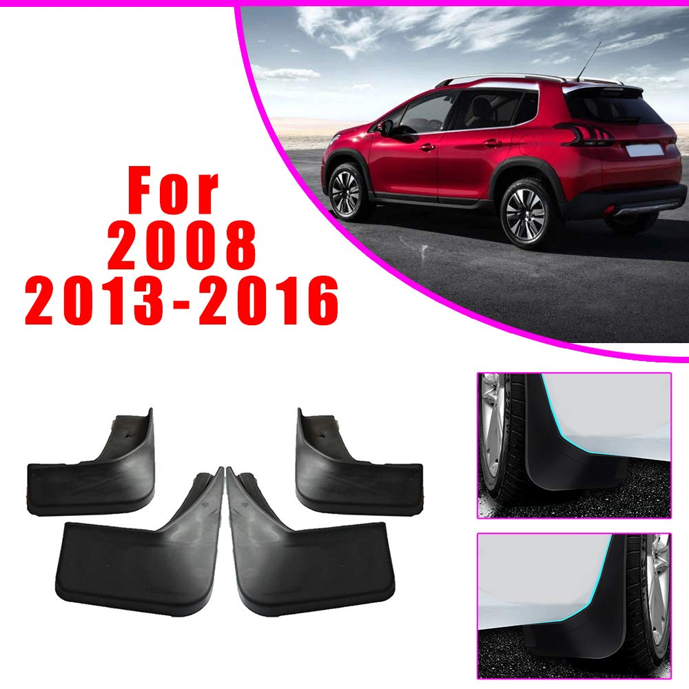 Upgraded Car Mud Flaps Mudguards for PEUGEOT 2008 2013-2016 Front Rear Splash Guards Car Fender Styling /& Body Fittings Black 4Pcs