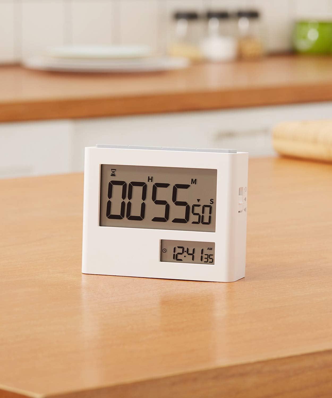 VOLUEX Timer da Cucina con modalit/à Orologio Ampio Display per Cucina Lezione Studio Allenamento e Altro Timer e Orologio 2 in 1 con Conto alla Rovescia Funzione di Allarme