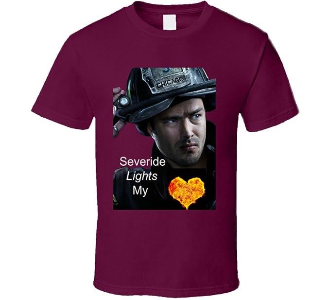668d301d3c943 Severide Lights My Fire T Shirt Chicago Tv Show Novelty Gift Taylor Kinney  Tee XSY Burgundy