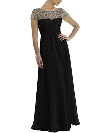 7022324d19fbee Newdeve Chiffon Mother of The Bride Dresses Long Pleated with Rhinestones  Short Sleeve Black