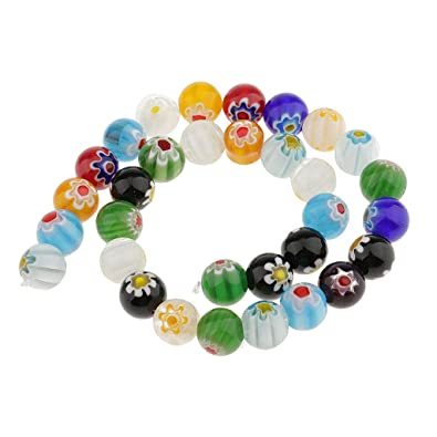 Mixed Round MILLEFIORI Glass BEADS Lampwork Spacers for Jewelry Making DIY Craft