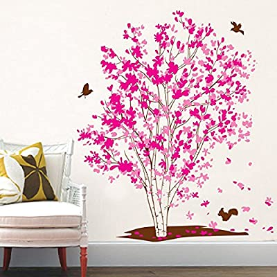 Pink Tree Vinyl Wall Decal PVC Home Sticker House Paper Painting Decoration Wallpaper Living Room Bedroom Kitchen Art Picture DIY Murals Kids Nursery Baby Decor
