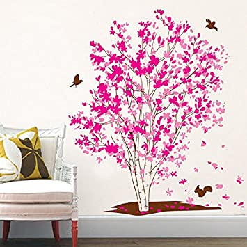 Amazon.com: Pink Tree Vinyl Wall Decal PVC Home Sticker House Paper ...