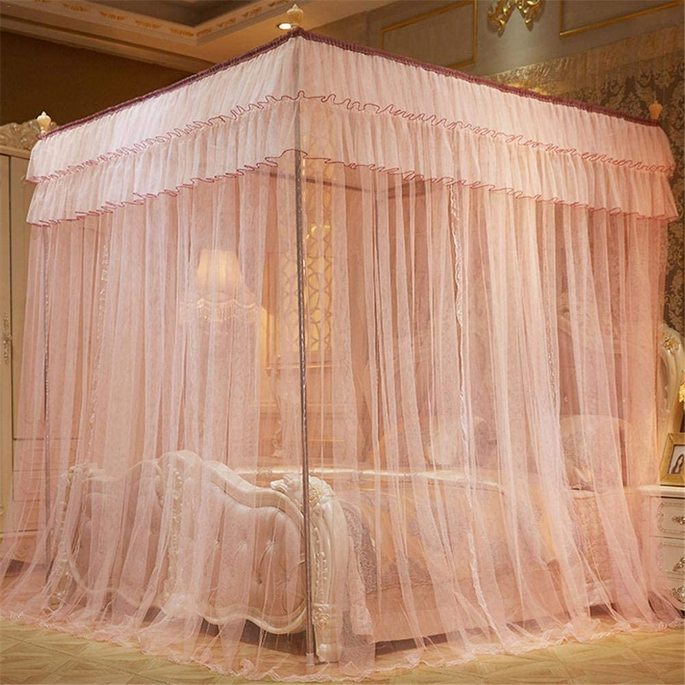 Navigatee Mosquito Net Bed Canopy Princess Queen Mosquito Bedding Net Bed Tent Four Corners Floor-Length Curtain 1.52 m 4