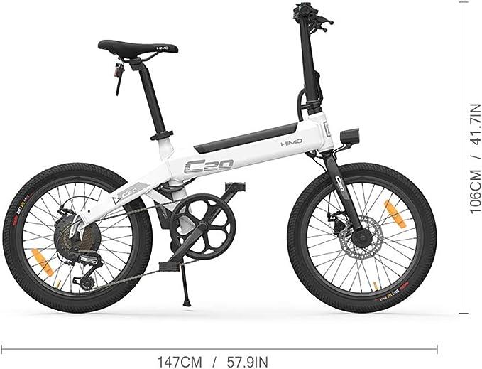 Lixada HIMO C20 20 Pulgadas Plegable 80KM Range Power Assist Bicicleta eléctrica ciclomotor E-Bike 10AH: Amazon.es: Deportes y aire libre