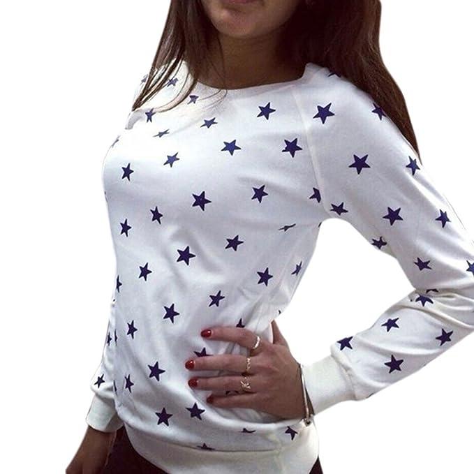 Cinco Estrella Patron Punto de manga larga de algodon mujeres de cuello redondo de la blusa de la camiseta: Amazon.es: Ropa y accesorios
