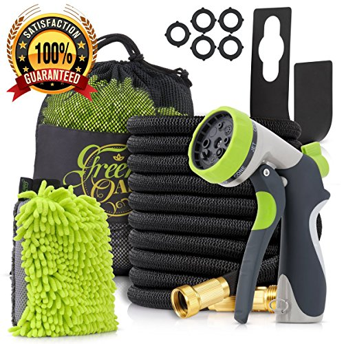 50ft Expandable Garden Hose made of Triple Natural Latex Set + Free Bonuses
