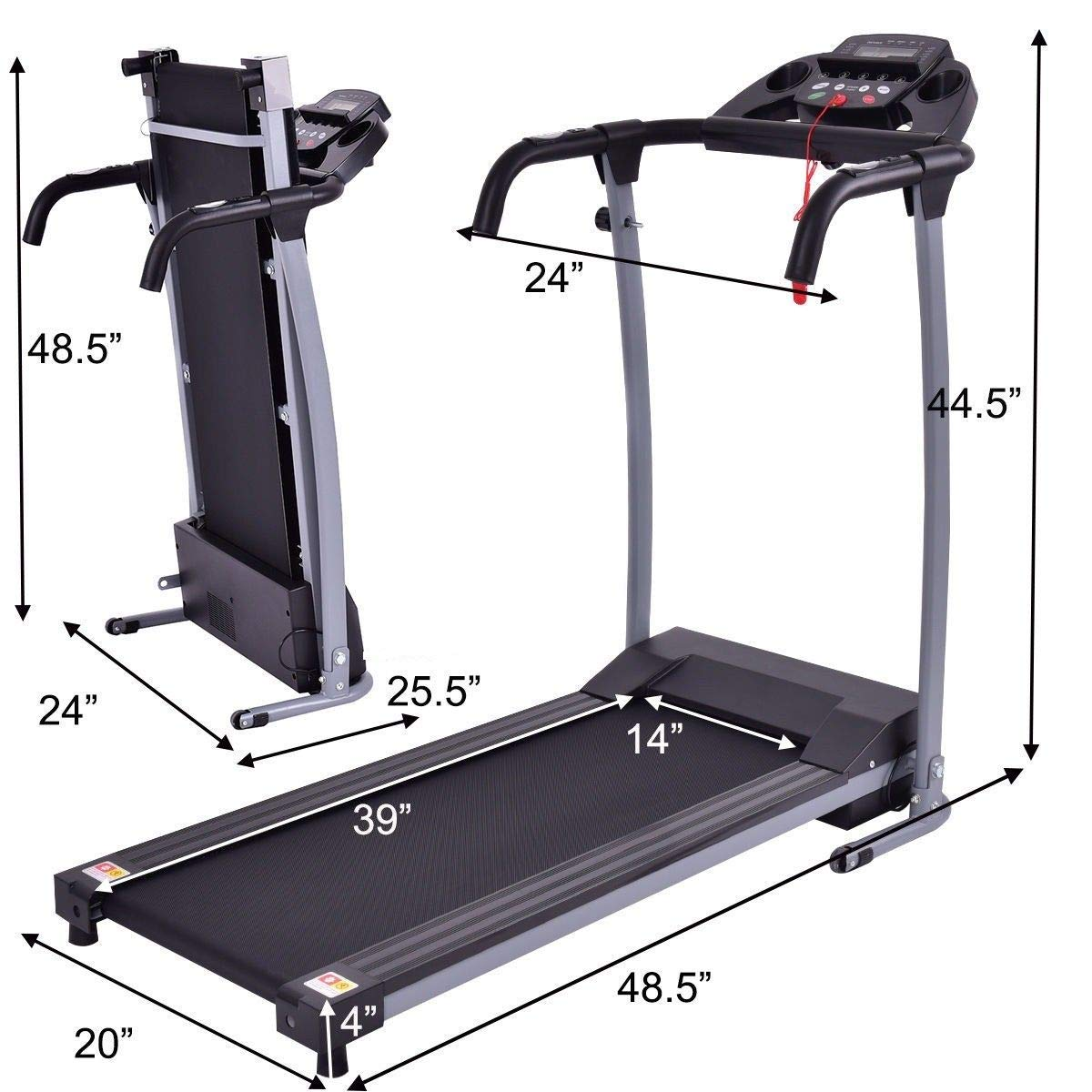 GYMAX Folding Exercise Treadmill Fitness Electric Treadmill Electric Motorized Power Fitness Running Machine 800W W/IPAD Mobile Phone Holder (Black) by GYMAX (Image #5)