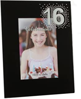 contemporary and stylish 16th birthday black glass 4 x 6 photo frame by haysom
