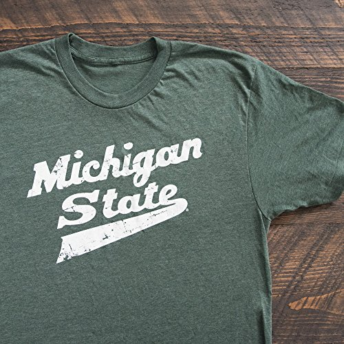 Nudge Printing Michigan State University Spartans MSU Hockey Script Logo T-Shirt - Green (Large)