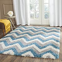 Safavieh Kids Shag Collection SGK568C Ivory and Blue Area Rug (53 x 76)