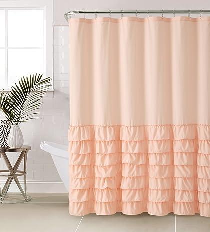 Amazon.com: VCNY Melanie Ruffle Shower Curtain, Light Pink: Home ...